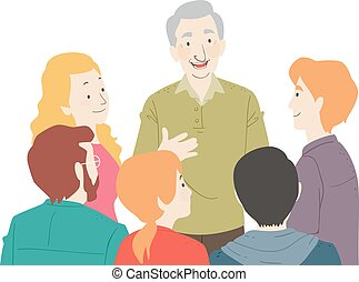 grupa, ilustracja, młodość, senior, rozmowa, człowiek
