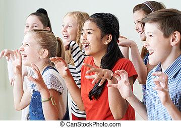 grupa, klub, razem, dramat, cieszący się, dzieci