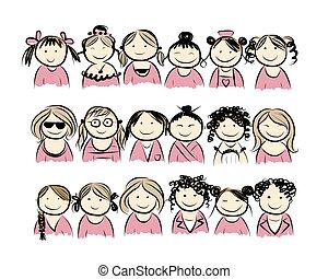 grupa kobiet, dla, twój, projektować
