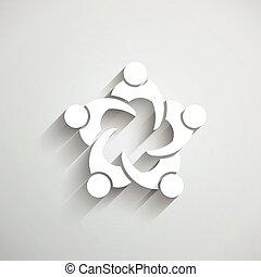 grupa ludzi, spotkanie, w, circle.