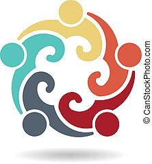 grupa, ludzie, -, 4, szablon, logo