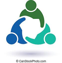 grupa, ludzie, 6., wektor, teamwork, spotkanie