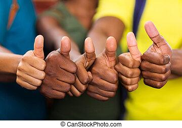 grupa, ludzie, do góry, amerykanka, kciuki, afrykanin
