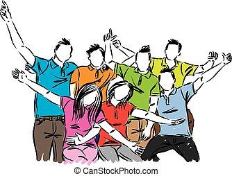 grupa, ludzie, ilustracja, wektor, celebrowanie, szczęśliwy