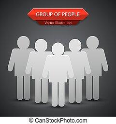 grupa, ludzie, ilustracja, wektor, tło, leader.