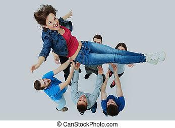 grupa, ludzie, inny., młody, gratulowanie, każdy