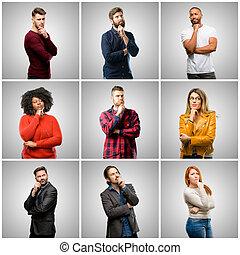 grupa, ludzie, mężczyźni, twarz, myślenie, zamyślony, mieszany, mądry, kobiety