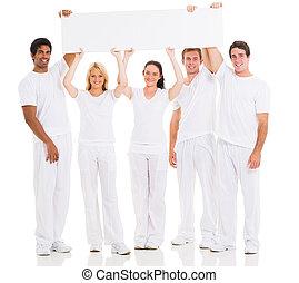 grupa, ludzie, młody, deska, dzierżawa, czysty, biały