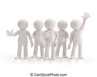 grupa, ludzie, -, mały, najlepszy, 3d