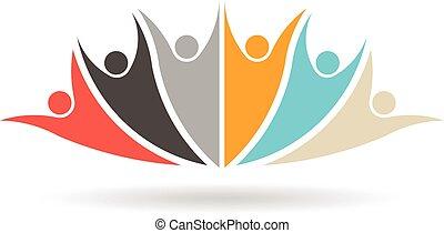 grupa, ludzie, media, towarzyski, 6, logo