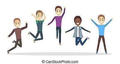 grupa, ludzie, radość, jumping., celebrowanie, szczęśliwy