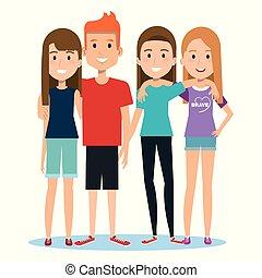 grupa, ludzie, razem, tło, biały, szczęśliwy, przyjaciele, przypadkowe ubranie