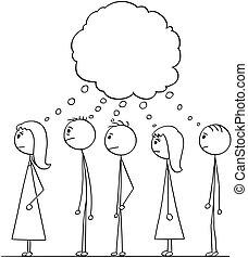 grupa, ludzie, rysunek, kolejka, usługiwanie, mowa, nad, kreska, bańka, albo, opróżniać