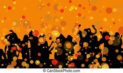 grupa, ludzie, sylwetka, taniec