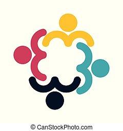 grupa, ludzie, symbol, cztery osoby, teamwork, koło, logo.