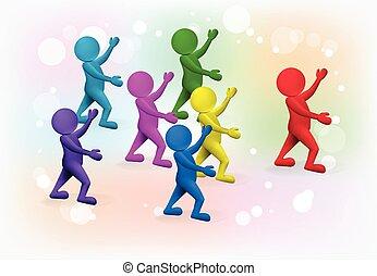 grupa, ludzie, wektor, projektować, mały, lider, 3d