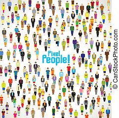 grupa, ludzie, zbierać, wielki, wektor, projektować, pixel