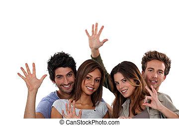 grupa, młody, gestykulując, ludzie