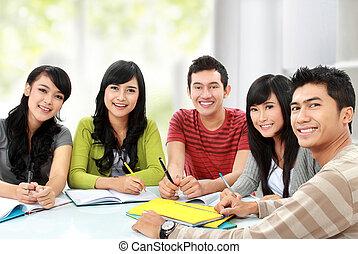 grupa, młody, student