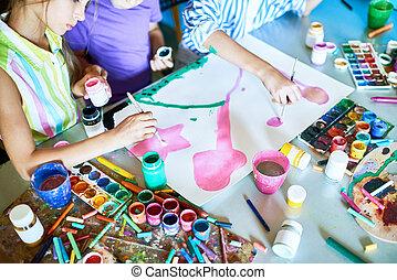 grupa, malarstwo, dzieci, razem