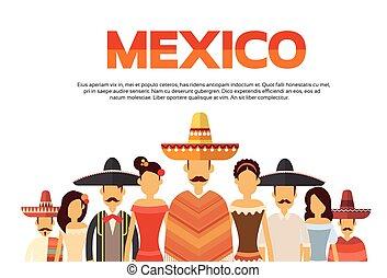 grupa, meksyk, przestrzeń, ludzie, tradycyjny, nosić, ...