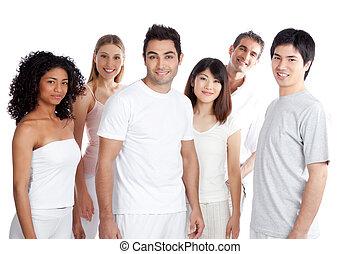 grupa, multiethnic, ludzie