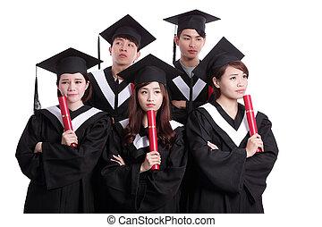 grupa, myśleć, student, absolwenci