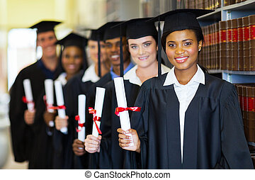 grupa, od, absolwenci, w, biblioteka