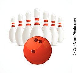 grupa, od, biały, bowling szpilki, i, ball., wektor