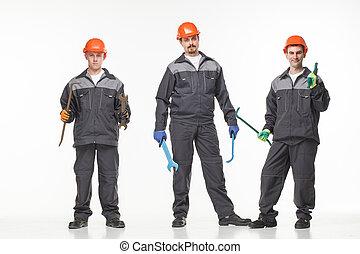 grupa, od, przemysłowy, workers., odizolowany, na, białe tło