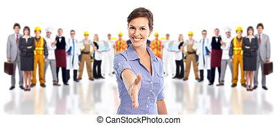 grupa, od, przemysłowy, workers.