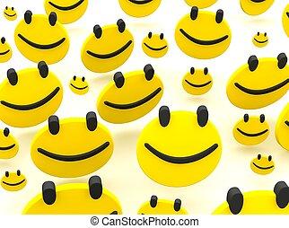 grupa, od, smileys., 3d, odpłacił, ilustracja, odizolowany, na, white.