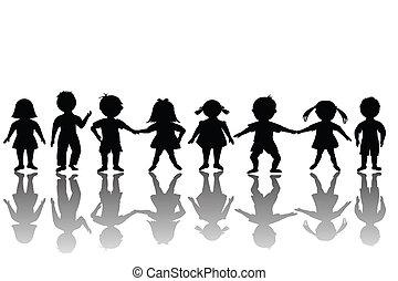 grupa, od, szczęśliwy, dzieci