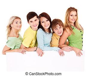 grupa, od, szczęśliwy, ludzie, dzierżawa, banner.
