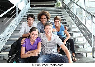 grupa, od, szczęśliwy, młodzież, na, uniwersytet