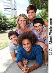 grupa, od, szczęśliwy, studenci, w, niejaki, park