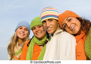 grupa, od, szczęśliwy uśmiechnięty, młodość