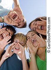 grupa, od, szczęśliwy, wiek dojrzewania, na, letni tabor