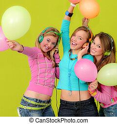 grupa, od, szczęśliwy, wiek dojrzewania, na, partia