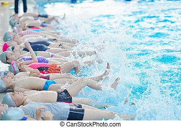 grupa, pływacki, dzieci, kałuża