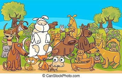 grupa, pies, koty, litery, komik, rysunek