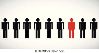 grupa, piktogram, jedna osoba, czerwony, szczególny