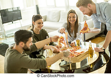 grupa, pizza, jedzenie, młodzież