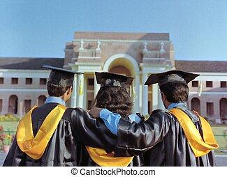 grupa, po, skala, absolwenci, patrząc, ich, kolegium obręb szkoły, ceremony.