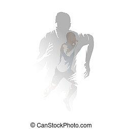 grupa, podwójny, multiexposure, mężczyźni, wektor, illustration., pasaż, bieganie na krótkich dystansach, biegacze, ekspozycja, odizolowany