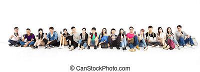 grupa, pokaz, młody, telefon, student, mądry, szczęśliwy
