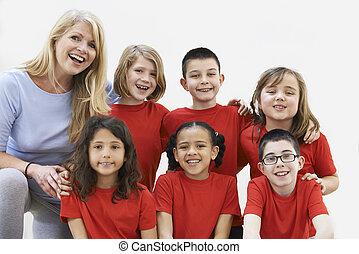 grupa razem, dzieci, dramat, warsztat, cieszący się, nauczyciel