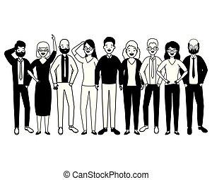 grupa, rozmaitość, ludzie