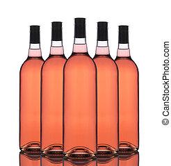 grupa, rumieniec, butelki, wino