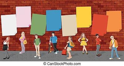 grupa, rysunek, nastolatki